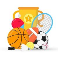 Sport gaming composition with balls - soccer, football, basketball. Trophy cup goblet tennis and ping pong racket, puck etc... Sport equipment flat style design vector illustration isolated on white.