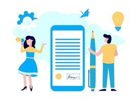 Concept of digital or electronic signature vector