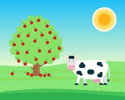 Landscape with black white spotted cow stand and chew with grass in its mouth near fruit tree with apples flat style vector illustration. Blue sky and sunlight. Symbol of the milk producing.