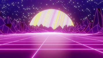 Retro wave skyline scene with neon lights and low poly territory. Ideal for foundation, vdj. Circled liveliness. video