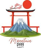 Mountain Day in Japan banner with Mount Fuji and Torii Gate vector