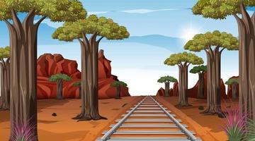 ferrocarril a través de la escena del paisaje desértico durante el día vector