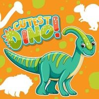 Cute dinosaur character with font design for word Cutest Dino vector