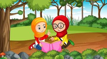 Brunei kids wears traditional clothes reading a book in the forest scene vector