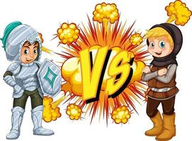 Two knight fighting each other on white background vector