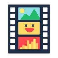 Film strip flat vector icon