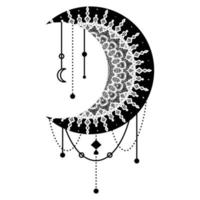 Hand Drawn Moon with Flowers, Mandalas and Paisley vector