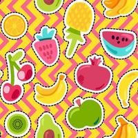 Fruits on zig zag background seamless pattern vector
