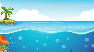 Little Island with blank underwater seascape template vector