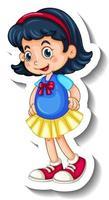 una plantilla de pegatina con una niña feliz en pose de pie vector