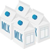 Milk packages isolated on white background vector