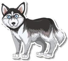Sticker design with siberian husky dog isolated vector