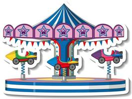 Sticker template with Carousel rides at fun fair isolated vector