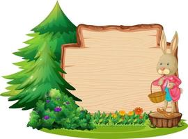 Empty wooden board with a rabbit and garden element isolated vector