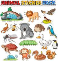 Cute wild animals sticker pack isolated vector