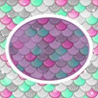 Oval frame template on colourful fish scales background vector