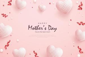 Happy mother's day with glowing love balloons. vector