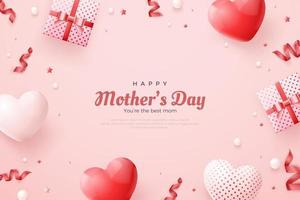 Happy mother's day with beautiful love balloons. vector