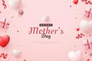 Happy mother's day with love balloons and gift boxes. vector