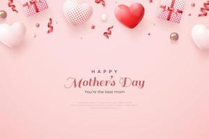Happy mother's day with ribbon gift box. vector