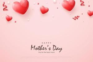Happy mother's day with ribbon love balloons. vector
