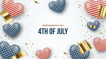 Realistic 4th of july independence day balloons background vector