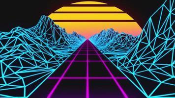 abstrakt unik retro 80-tal bakgrund. retro banbrytande 80-tals fluorescerande dag- och nattarrangemang. genomgående cirkulerad vj-aktivitet. cirkelfärdig video