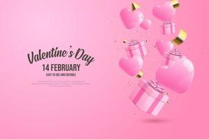 happy valentine's day with shiny ribbon blue gift box. vector
