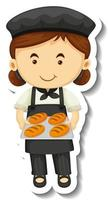 Sticker template with a baker girl holds baked tray isolated vector