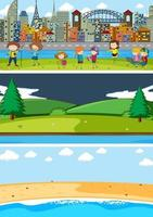 Set of different horizontal scenes background with doodle kids cartoon character vector