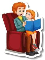 A sticker template with father and his daughter reading a book together vector