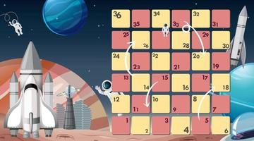 Board game with space theme template vector