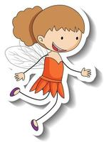 Sticker template with a fairy girl cartoon character isolated vector