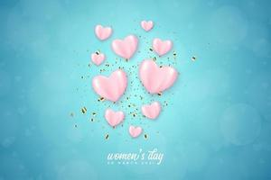 women's day poster with heart balloons vector