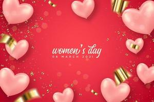 Women's day graphic with heart balloons vector