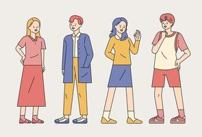 Casual style young people standing and talking. outline simple vector illustration.