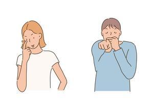 una mujer se ríe con los dedos en los ojos. un hombre se ríe mientras se tapa la boca con la mano. ilustraciones de diseño de vectores de estilo dibujado a mano.
