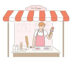 A worker in an ice cream shop is holding a cone of ice cream. hand drawn style vector design illustrations.