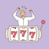A man rejoices in front of a jackpot machine with a 777. hand drawn style vector design illustrations.