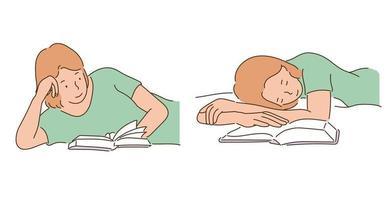 una niña se quedó dormida mientras leía un libro. ilustraciones de diseño de vectores de estilo dibujado a mano.