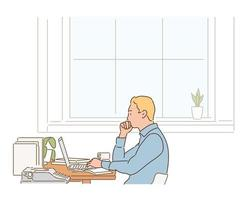 A man is sitting at his desk, looking at his laptop and working. hand drawn style vector design illustrations.