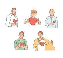 Men are expressing love by holding hearts in their hands. hand drawn style vector design illustrations.