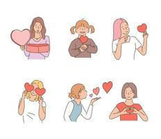 Women holding hearts in their hands. hand drawn style vector design illustrations.