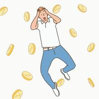 A man has a happy expression after hitting the jackpot and coins are floating in the background. hand drawn style vector design illustrations.