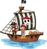 Pirate concept with a boy cartoon character walking the plank on the ship isolated vector