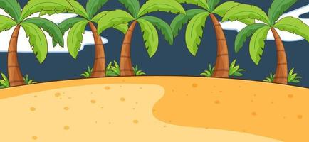 Empty beach nature scene at night in simple style vector
