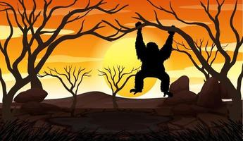 Silhouette Gorilla and Forest Scene at sunset time vector
