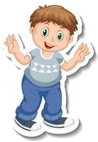 Sticker template with a chubby boy cartoon character isolated vector