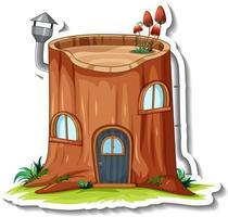 una plantilla de pegatina con casa de troncos de fantasía aislada vector