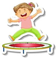 Sticker template with a little girl jumping on trampoline cartoon character isolated vector